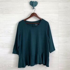 Lane Bryant Teal Green Drop Waist Blouse